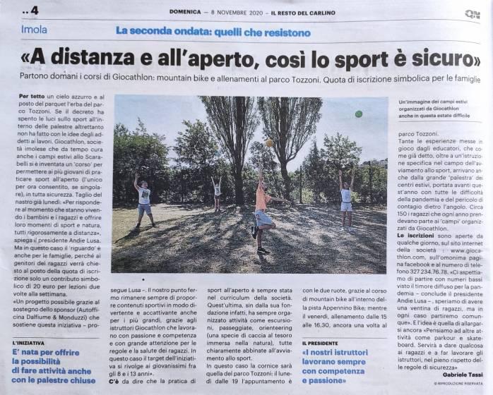 articolo Giocathlon outdoor Il Resto del Carlino 08.11.2020