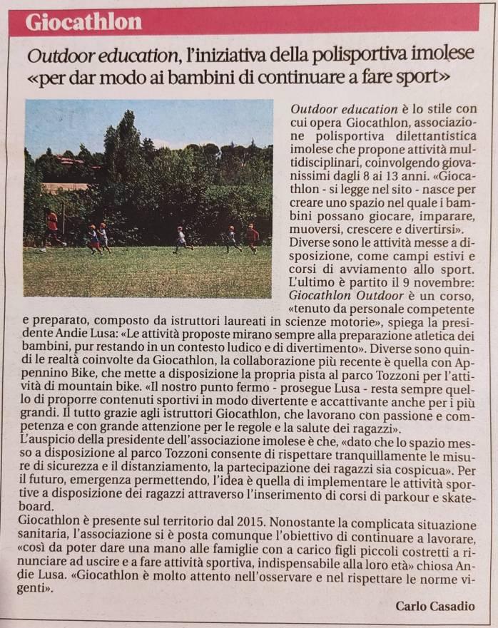 articolo Giocathlon outdoor Nuovo Diario Messaggero 12.11.2020
